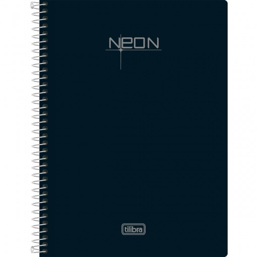 Caderneta Espiral Capa Plástica 1/8 Sem Pauta Neon Preto 96 Folhas