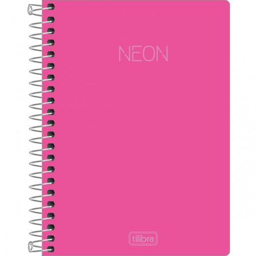 Caderneta Espiral Capa Plástica 1/8 sem Pauta Neon Rosa 80 Folhas