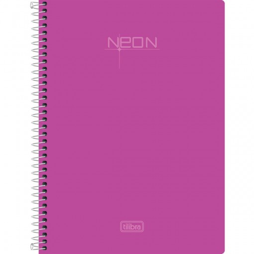 Caderneta Espiral Capa Plástica 1/8 Sem Pauta Neon Rosa 96 Folhas
