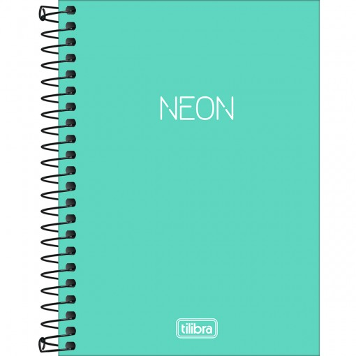 Caderneta Espiral Capa Plástica 1/8 sem Pauta Neon Turquesa 80 Folhas