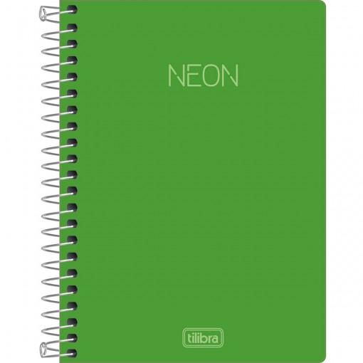 Caderneta Espiral Capa Plástica 1/8 sem Pauta Neon Verde 80 Folhas