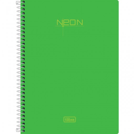 Caderneta Espiral Capa Plástica 1/8 sem Pauta Neon Verde 96 Folhas