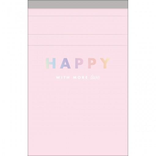 Caderneta Grampeada ao Alto P Happy 80 Folhas (Pacote com 5 unidades) - Sortido
