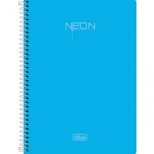 Caderno Espiral Capa Plástica 1/4 Neon Azul96 Folhas