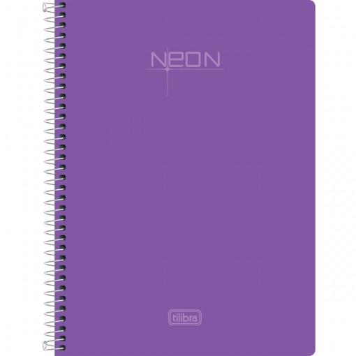 Caderno Espiral Capa Plástica 1/4 Sem Pauta Neon Lilás 96 Folhas