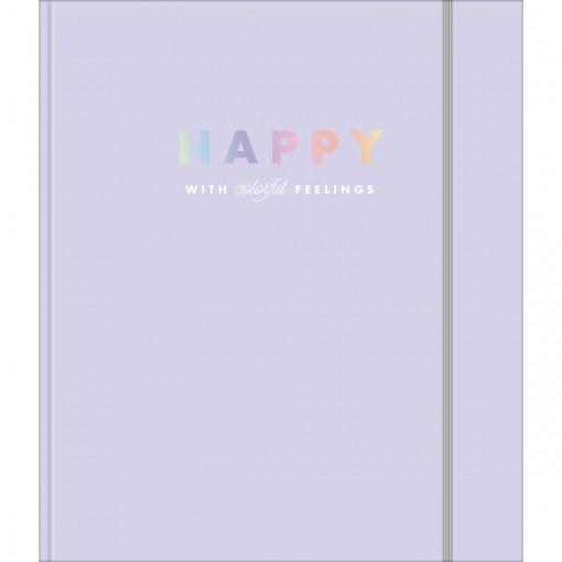 Caderno Argolado Cartonado Colegial com Elástico Happy 80 Folhas
