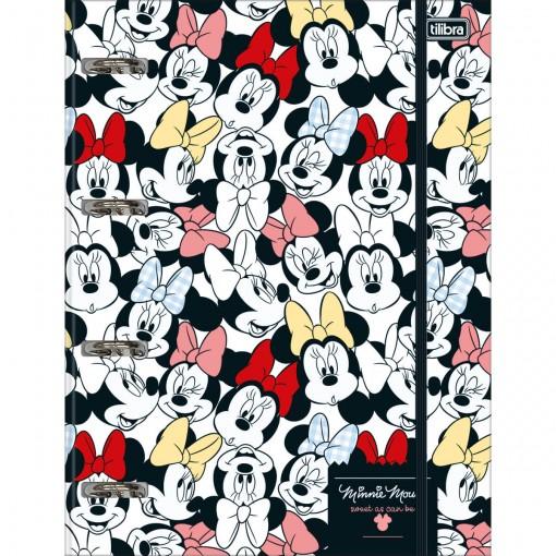 Caderno Argolado Cartonado com Elástico Minnie 80 Folhas