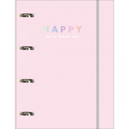 Caderno Argolado Cartonado Universitário com Elástico Happy 80 Folhas