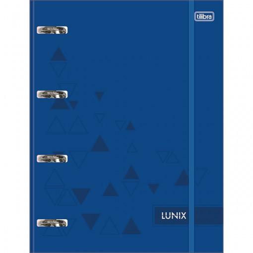 Caderno Argolado Cartonado Universitário com Elástico Lunix Azul 80 Folhas