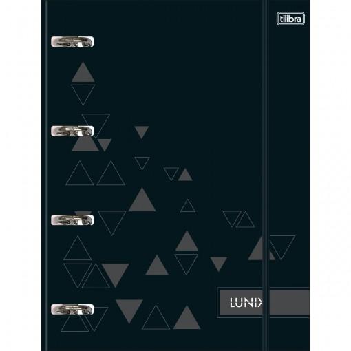 Caderno Argolado Cartonado Universitário com Elástico Lunix Preto 80 Folhas