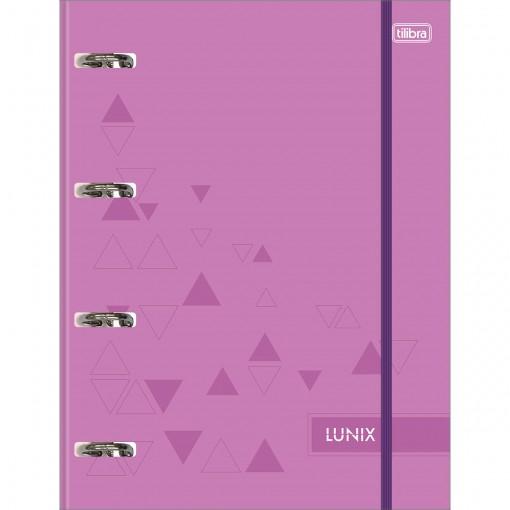 Caderno Argolado Cartonado Universitário com Elástico Lunix Roxo 80 Folhas