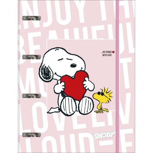 Caderno Argolado Cartonado Universitário com Elástico Snoopy 80 Folhas
