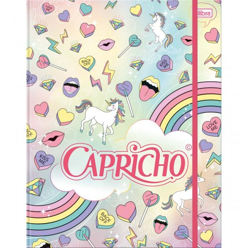 Caderno Argolado Universitário Cartonado com Elástico Capricho 80 Folhas