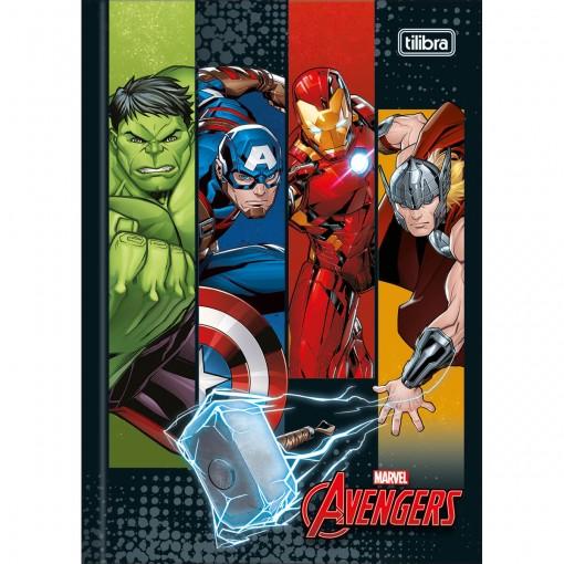 Caderno Brochura Capa Dura 1/4 Avengers 80 Folhas (Pacote com 5 unidades) - Sortido