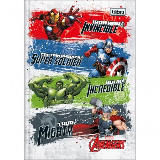 Caderno Brochura Capa Dura 1/4 Avengers 80 Folhas - Quatro Heróis Fundo Branco - Sortido