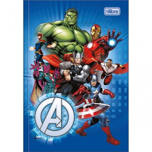 Caderno Brochura Capa Dura 1/4 Avengers 80 Folhas - Vários Heróis Fundo Azul - Sortido