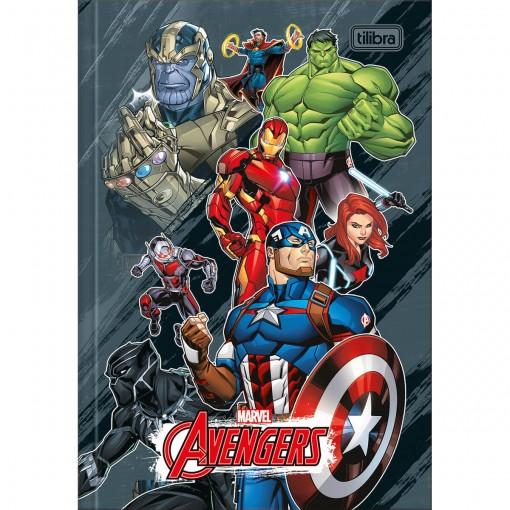 Caderno Brochura Capa Dura 1/4 Avengers 80 Folhas - Vários Heróis Fundo Cinza Manchado - Sortido