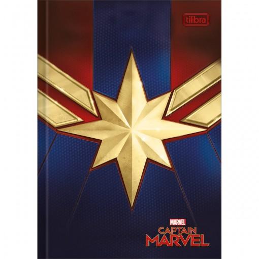 Caderno Brochura Capa Dura 1/4 Capitã Marvel 80 Folhas (Pacote com 5 unidades) - Sortido