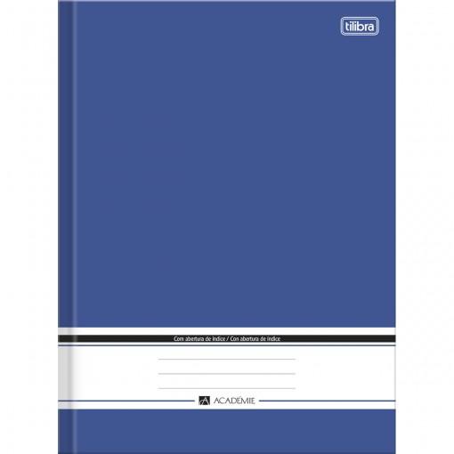 Caderno Brochura Capa Dura 1/4 com Índice Académie Azul 96 Folhas