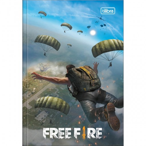 Caderno Brochura Capa Dura 1/4 Free Fire 80 Folhas (Pacote com 5 unidades) - Sortido