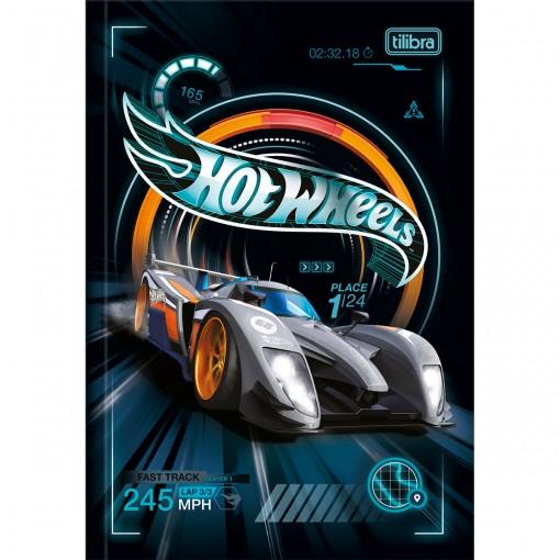 Caderno Brochura Capa Dura 1/4 Hot Wheels 80 Folhas (Pacote com 5 unidades) - Sortido