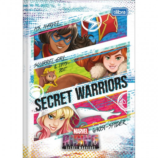 Caderno Brochura Capa Dura 1/4 Marvel Rising 80 Folhas (Pacote com 5 unidades) - Sortido