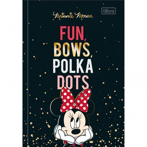 Caderno Brochura Capa Dura 1/4 Minnie 80 Folhas - Fun, Bows, Polka Dots - Sortido