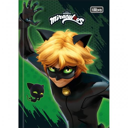 Caderno Brochura Capa Dura 1/4 Miraculous: Cat Noir 80 Folhas (Pacote com 5 unidades) - Sortido