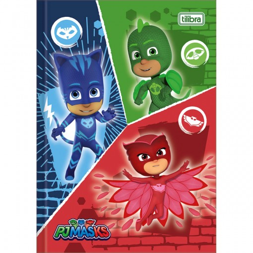 Caderno Brochura Capa Dura 1/4 PJ Masks 48 Folhas (Pacote com 5 unidades) - Sortido