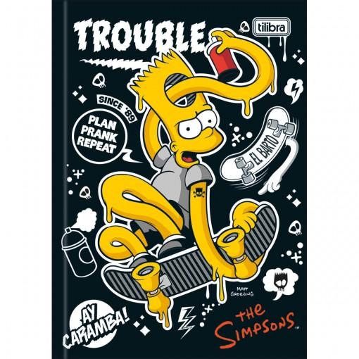 Caderno Brochura Capa Dura 1/4 Simpsons 96 Folhas (Pacote com 5 unidades) - Sortido