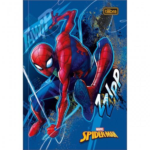 Caderno Brochura Capa Dura 1/4 Spider-Man 80 Folhas - Spider-Man Capa Azul - Sortido