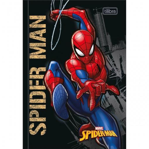 Caderno Brochura Capa Dura 1/4 Spider-Man 80 Folhas - Spider-Man Capa Preta - Sortido