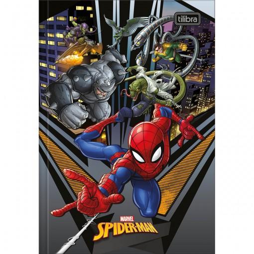 Caderno Brochura Capa Dura 1/4 Spider-Man 80 Folhas - Spider-Man e Vilões - Sortido