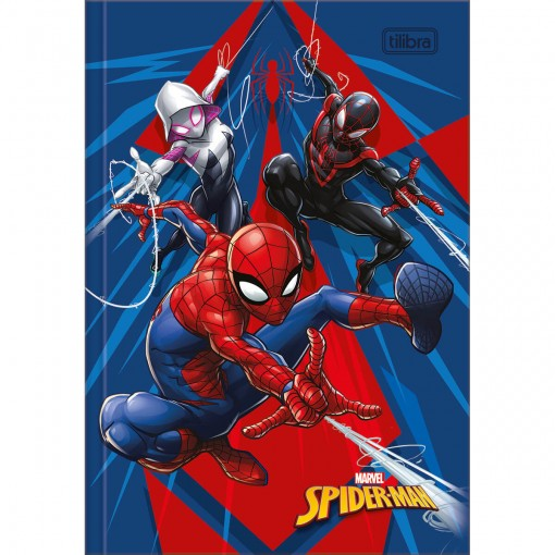 Caderno Brochura Capa Dura 1/4 Spider-Man 80 Folhas - Spider-Man, Spider-Gwen e Miles - Sortido