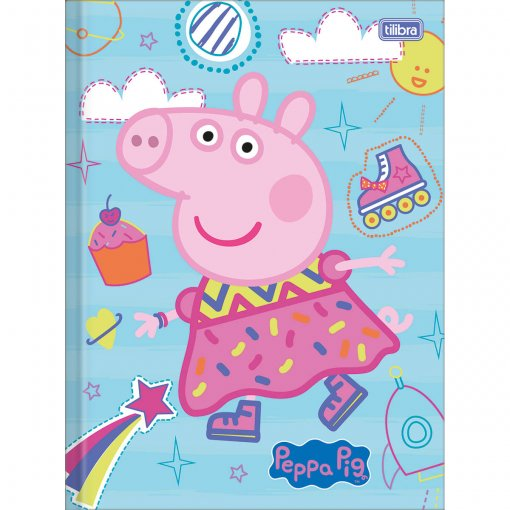 Caderno Brochura Capa Dura Top Universitário Peppa Pig 40 Folhas - Sortido (Pacote com 5 unidades)
