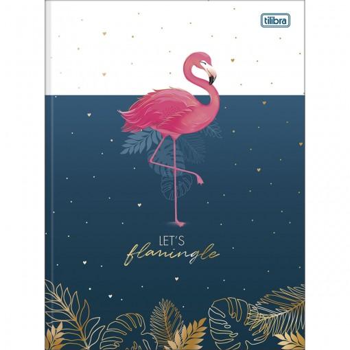 Caderno Brochura Capa Dura Universitário Aloha 80 Folhas - Let's Flamingle - Sortido