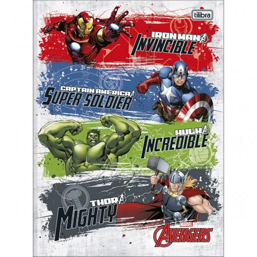 Caderno Brochura Capa Dura Universitário Avengers 80 Folhas (Pacote com 5 unidades) - Sortido