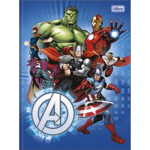 Caderno Brochura Capa Dura Universitário Avengers 80 Folhas - Vários Heróis Fundo Azul - Sortido