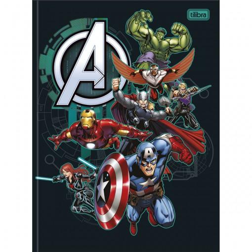 Caderno Brochura Capa Dura Universitário Avengers 80 Folhas - Vários Heróis Fundo Preto - Sortido
