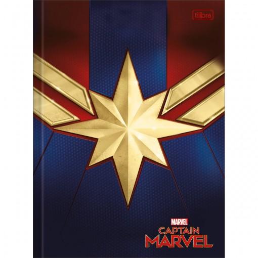 Caderno Brochura Capa Dura Universitário Capitã Marvel 80 Folhas (Pacote com 5 unidades) - Sortido