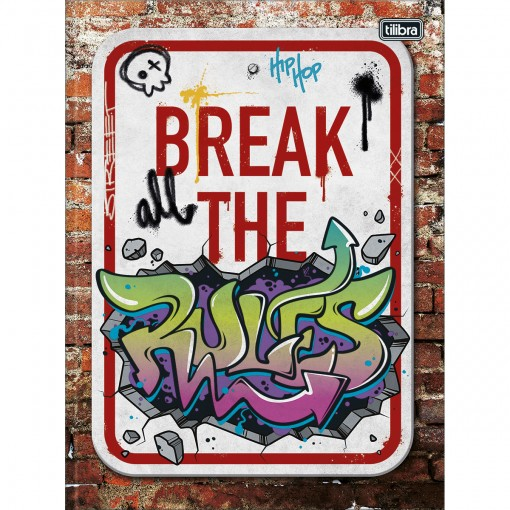 Caderno Brochura Capa Dura Universitário Graffiti 80 Folhas (Pacote com 5 unidades) - Sortido