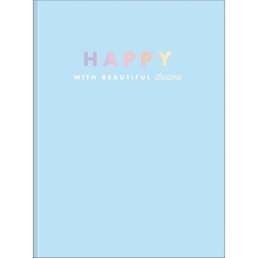 Caderno Brochura Capa Dura Universitário Happy 80 Folhas - Azul - Sortido