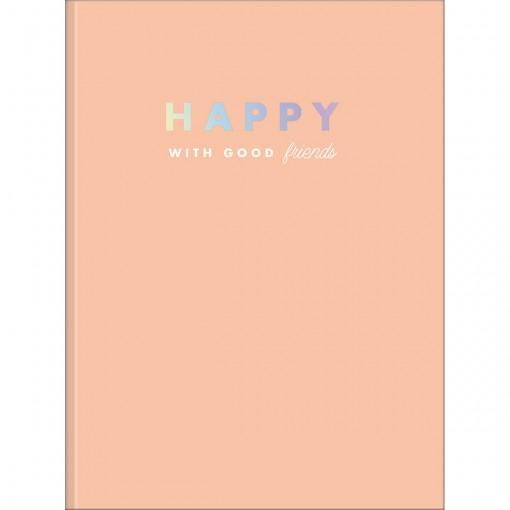 Caderno Brochura Capa Dura Universitário Happy 80 Folhas - Coral - Sortido