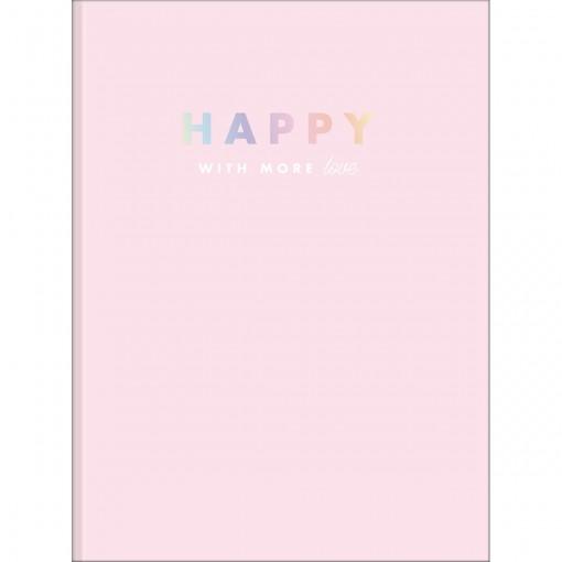 Caderno Brochura Capa Dura Universitário Happy 80 Folhas - Rosa - Sortido