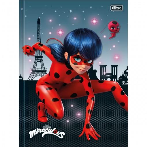 Caderno Brochura Capa Dura Universitário Miraculous: Ladybug 80 Folhas (Pacote com 5 unidades) - Sortido