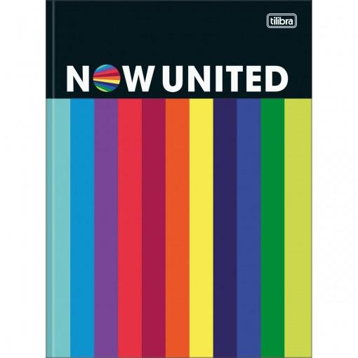 Caderno Brochura Capa Dura Universitário Now United 80 Folhas - Listras Coloridas - Sortido