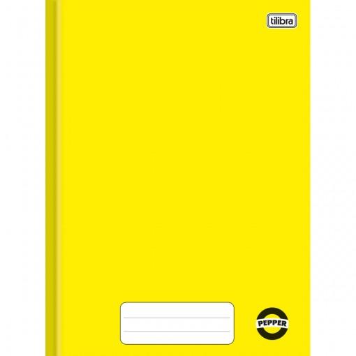 Caderno Brochura Capa Dura Universitário Pepper Amarelo 80 Folhas