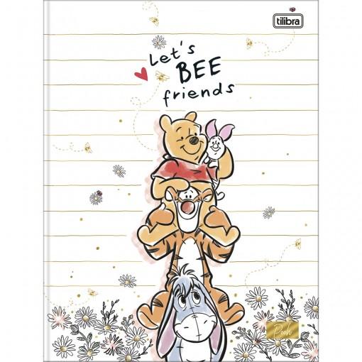 Caderno Brochura Capa Dura Universitário Pooh 80 Folhas (Pacote com 5 unidades) - Sortido