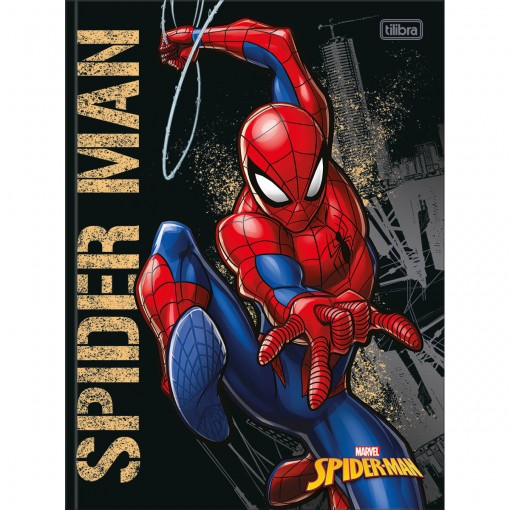 Caderno Brochura Capa Dura Universitário Spider-Man 80 Folhas - Spider-Man Capa Preta - Sortido