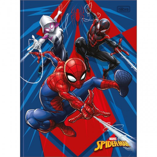 Caderno Brochura Capa Dura Universitário Spider-Man 80 Folhas - Spider-Man, Spider-Gwen e Miles - Sortido
